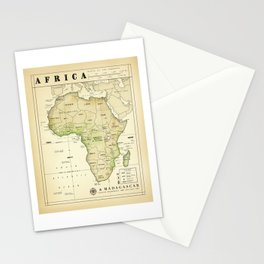 Africa and Madagascar [Vintage Inspired] Map print Stationery Cards