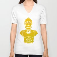 c3po V-neck T-shirts featuring StarWars C3PO by Joshua A. Biron