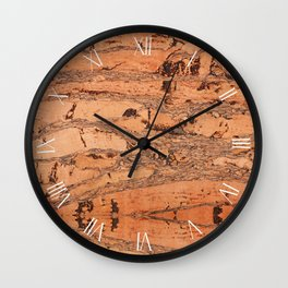 Brown natural cork material texture Wall Clock