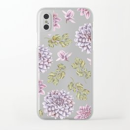 Lavender Rose Garden Floral Pattern Clear iPhone Case