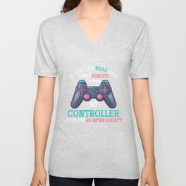 Read Forced Controller Unisex V-Neck