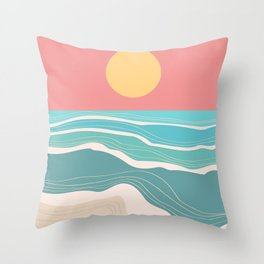 Crashing wave on sunny bay Throw Pillow