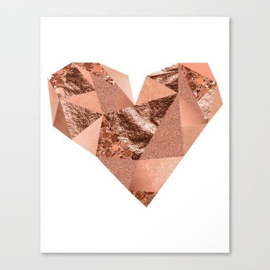 Rose gold geometric heart - glitter & foil Canvas Print