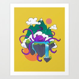 Kraken Soup - Yellow Art Print
