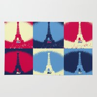eiffel tower Area & Throw Rugs featuring Eiffel Tower by Aloke Design