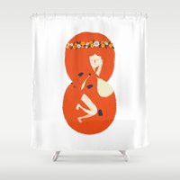 lady Shower Curtains featuring Foxy Lady by Wharton
