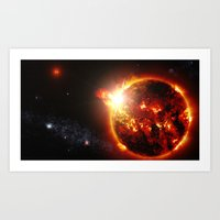 planet Art Prints featuring Galaxy : Red Dwarf Star by 2sweet4words Designs