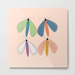 Summer Night Flutters | Peach Metal Print