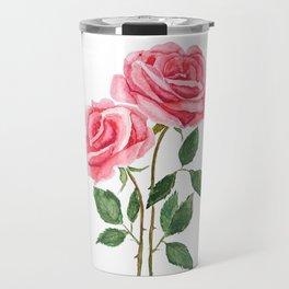 two pink roses watercolor Travel Mug