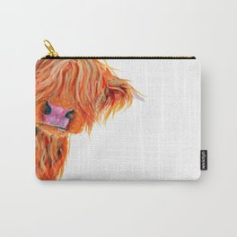 Scottish Hairy Highland Cow 'Peekaboo' by Shirley MacArthur Carry-All Pouch