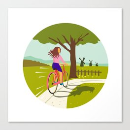 Girl Riding Bicycle Up Tree Circle Retro Canvas Print