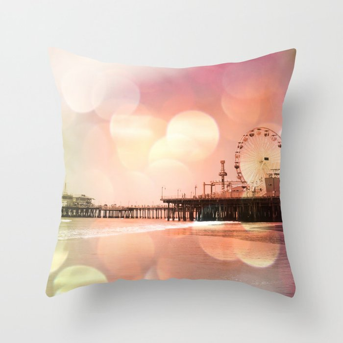 Sparkling pink Santa Monica Pier Throw Pillow