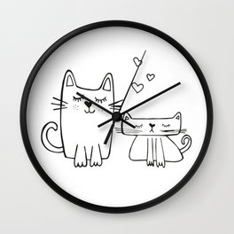 Two little cats, kids room and nursery deco Wall Clock