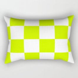 Large Checkered - White and Fluorescent Yellow Rectangular Pillow