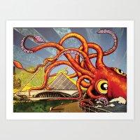 milwaukee Art Prints featuring MILWAUKEE: What's Kraken, Milwaukee? by Amanda Iglinski