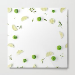 Lime and green branches frame on white background. Metal Print
