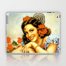 Mexican Calendar Girl with Guitar by Jesus Helguera Laptop & iPad Skin