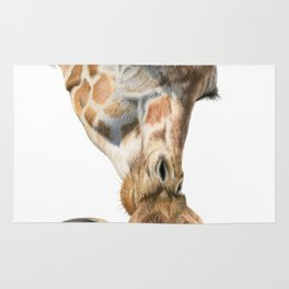Mother And Baby Giraffe Rug