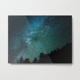 Colorful Green Blue Milky Way Night Sky With Tree Silhouette Metal Print