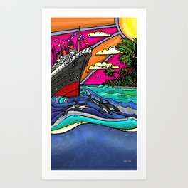 Queen Mary and Dolphins Art Print