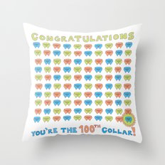 100th Collar! Throw Pillow