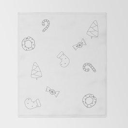 Winter Holiday Themed Illustration Merry Christmas! Black White Throw Blanket