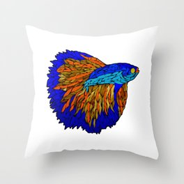 Betta Fighting Fish _ Orange Throw Pillow