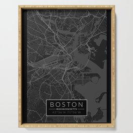 Boston Map - Black and White (Dark) Serving Tray