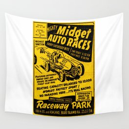 Midget Auto Races, Race poster, vintage poster Wall Tapestry
