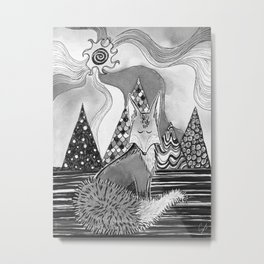 Whimsical fox (black and white) Metal Print