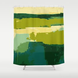 Infinity abstract art print green and blue Shower Curtain