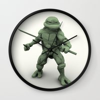 ninja turtle Wall Clocks featuring ninja turtle by aterg88