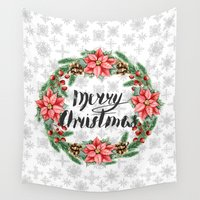 merry christmas Wall Tapestries featuring Merry Christmas by Julia Badeeva