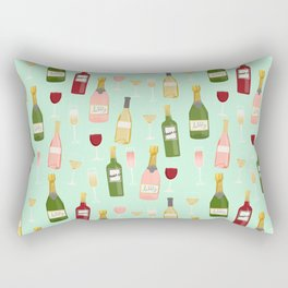 Rose drinks champagne wine bar art food fight apparel and gifts mint Rectangular Pillow