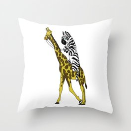 Zebra riding a Giraffe Throw Pillow