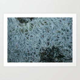 Ice pattern, frost decorating little stream of water Art Print
