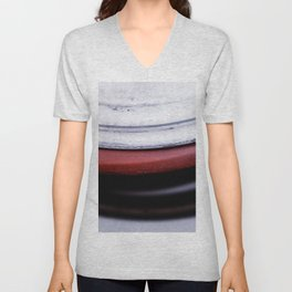 Abstract Coils In Red And White Unisex V-Neck
