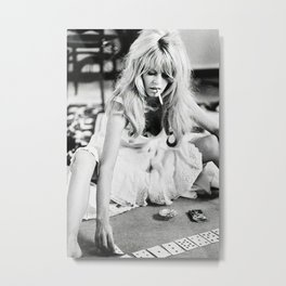 Brigitte Playing Cards , vintage style , gift , fashion, wall art, classic photography Metal Print