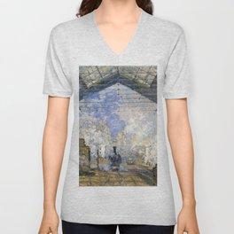 12,000pixel-500dpi - Claude Monet - The Saint-Lazare Station - Digital Remastered Edition Unisex V-Neck