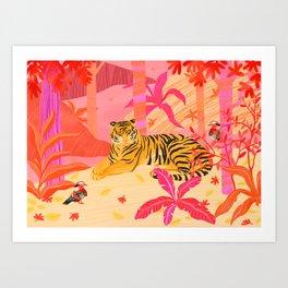 Tiger and Mandarin Ducks Art Print