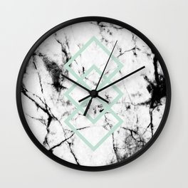 White Marble Concrete Look Mint Green Geometric Squares Wall Clock
