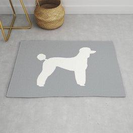 Poodle silhouette grey and white square minimal modern dog art pet portrait dog breeds Rug