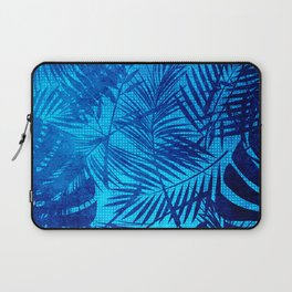 Turquoise Teal Palm Leaves Pattern Laptop Sleeve
