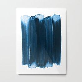 Indigo Blue Minimalist Abstract Brushstrokes Metal Print