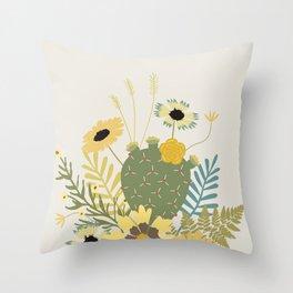 Wildflowers & Cactus Throw Pillow