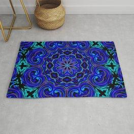 Bright Blue Kaleidoscope Rug