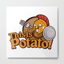 Potato Spartan Warrior Cartoon Metal Print