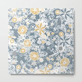 Blue/Yellow Floral Metal Print