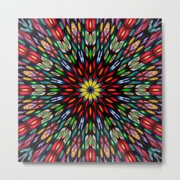 Kaleidoscope Made From Flowers Metal Print