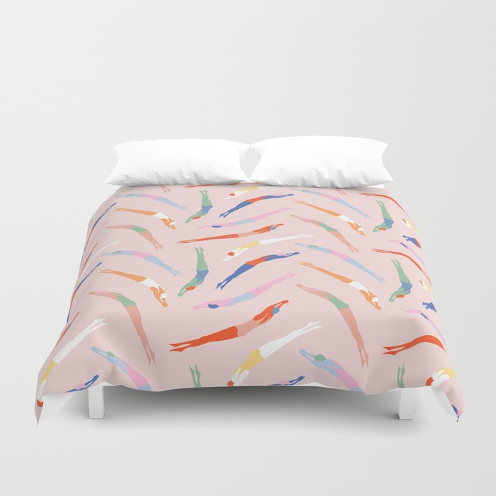 Art Deco Divers in Champagne Duvet Cover
